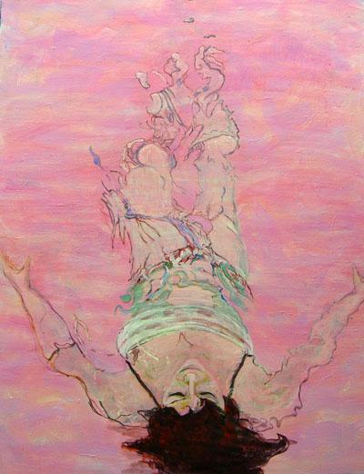 Marlies van Boekel Brekend Licht 33, Shades of Pink, acryl op doek, 125 x 150, 2008